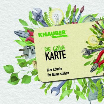 """Knauber ersetzt seine alte Kundenkarte durch eine neue """"Grüne Karte"""", die überwiegend aus Holzabfallprodukten besteht."""