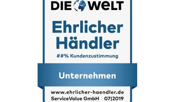 """Service Value und """"Die Welt"""" vergeben dieses Siegel auf der Basis von 44.000 ausgewerteten Kundenurteilen."""