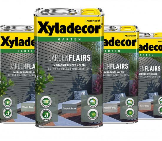 GardenFlairs Holzöle sind in vier trendigen Grautönen erhältlich.