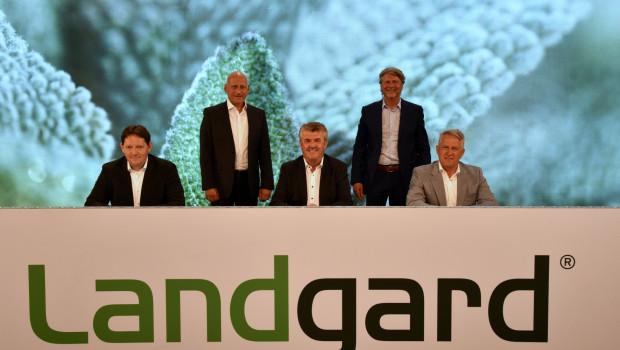 Vorstand und Aufsichtsräte (AR) der Landgard mit (v. l.)Carsten Bönig, Dirk Bader, Bert Schmitz (AR), Robert Sauer und Willi Andree (AR) bei der digitalen Vertreterversammlung 2021.