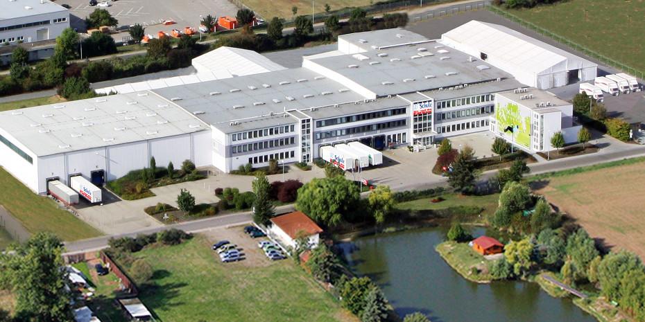 Das Schulz-Gebäude aus der Luft.