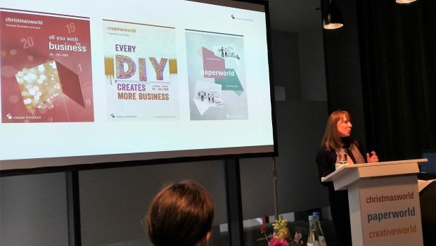 Julia Uherek, Bereichsleiterin Consumer Goods der Messe Frankfurt, stellte der Fachpresse Pläne für die Weiterentwicklung von Christmasworld, Creativeworld und Paperworld vor.