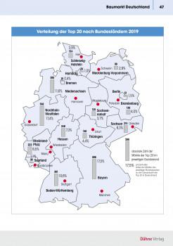 Die Ausgabe 2020 der Statistik Baumarkt + Garten ist jetzt neu erschienen. Zu sehen: Ein Ausschnitt zur Baumarktverteilung in Deutschland