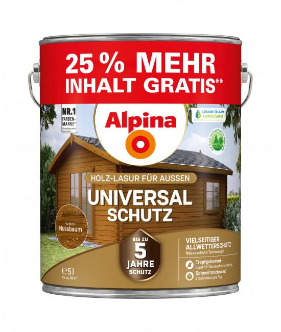 Alpina Universal-Schutz: Die klassische Allrounder-Lasur als 25-Prozent-Überfüller – 4 plus 1 Liter gratis.