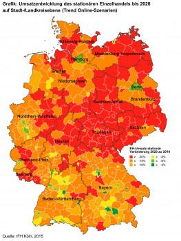 IFH-Studie: Umsatzentwicklung des stationären Einzelhandels bis 2020 auf Stadt-/Landkreisebene (Trend Online-Szenarien)
