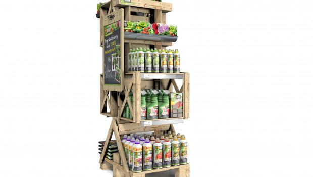 Das Display von Compo zum Thema Urban Gardening wird aus Euro-Paletten hergestellt.