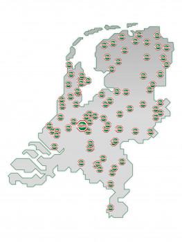 Die Standorte von BMN Bouwmaterialen in den Niederlanden.