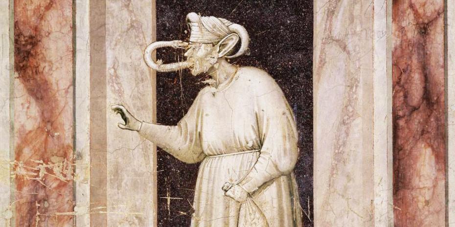 """Der Neid (lateinisch 'Invidia'), hier als sogenannte """"Schlangenzunge"""", eine allegorische Darstellung von Giotto (um 1300), galt als Todsünde."""
