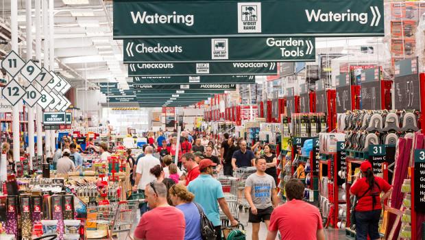 Bunnings hatte zum Stichtag 274 Baumärkte im Warehouse-Format, 68 kleinere Märkte sowie 30 Baustoffhandlungen.