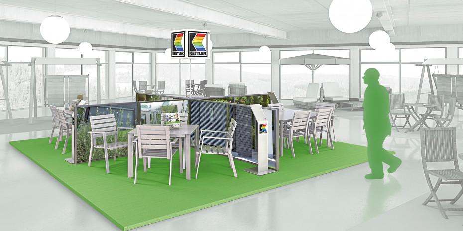 Das Shop-in-Shop-System für Baumärkte lehnt sich an das Fachhandelskonzept an. Besonders markant: der grüne Boden.
