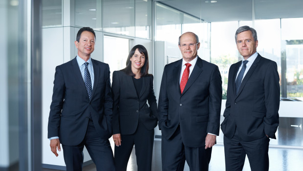 Freudenberg Home and Cleaning Solutions (v. l.): Dr. Arman Barimani CTO, Karin Overbeck CMO, Dr. Klaus Peter Meier CEO, Frank Reuther CFO.