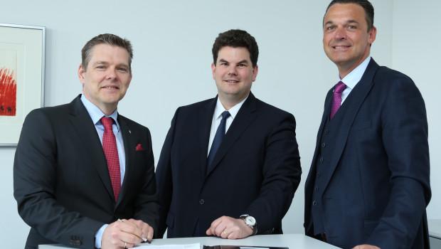Bei der Vertragsunterzeichnung  v. l.: Georg Mersmann Geschäftsführer der GWS; Christoph Eberz, Gründer der Faveo, und Udo Lorenz Geschäftsführer der GWS.