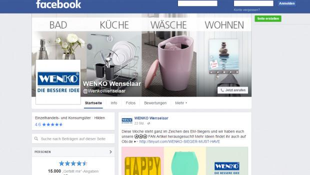 Mehr als 15.000 User folgen mittlerweile dem Facebook-Auftritt von Wenko.