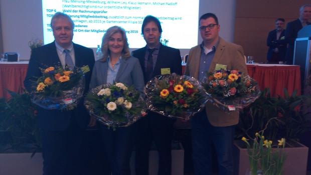 Bestätigt und aufgerückt im VDG-Vorstand (v. l.): Wilhelm Ley, Martina Mensing-Meckelburg, Michael Radloff und Klaus Ikemann.