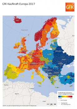 Die Karte der GfK macht es deutlich: Die Kaufkraft der Europäer schwankt von Land zu Land sehr stark.
