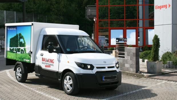 Der neue E-Transporter von Bauking, der nun in einem Pilotprojekt zwei Jahre getestet wird. [Foto: Bauking]
