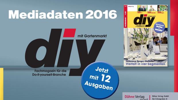 Die Mediadaten informieren über Themen und Termine, die im Fachmagazin diy im kommenden Jahr anstehen. Wichtigste Neuerung: Es gibt künftig zwölf Ausgaben im Jahr.