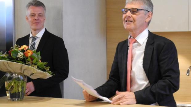 Die Vorstände Franz-Josef Isensee (rechts) und Peter Pohl erwarten von dem Umzug in die neue Zentrale einen weiteren Auftrieb für die tägliche Arbeit.