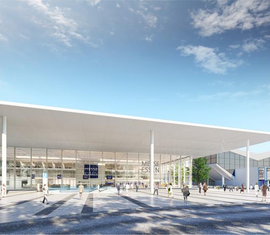 Das rund 2.000 m² große Glasfoyer im Eingangsbereich Ost erhält ein markantes Vordach.