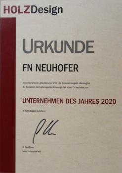 """Das Fachmagazins Holzdesign hat FN Neuhofer zum """"Unternehmen des Jahres 2020"""" in der Kategorie Zulieferer gekürt."""