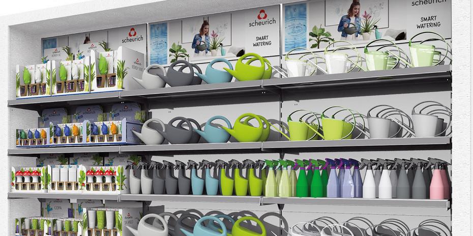 Das Verkaufsmodul setzt das Smart Watering-Sortiment übersichtlich in Szene und spricht die Verbraucher emotional an.