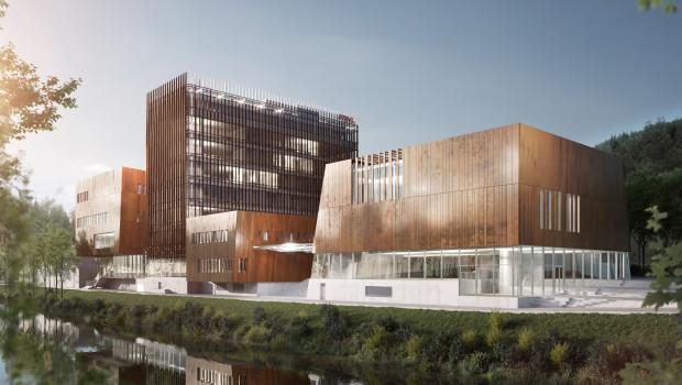 """Der Stammsitz von Stihl in Waiblingen wird derzeit modernisiert und erweitert. Leuchtturm des künftigen Gebäudeensembles ist die dort entstehende """"Markenwelt""""."""