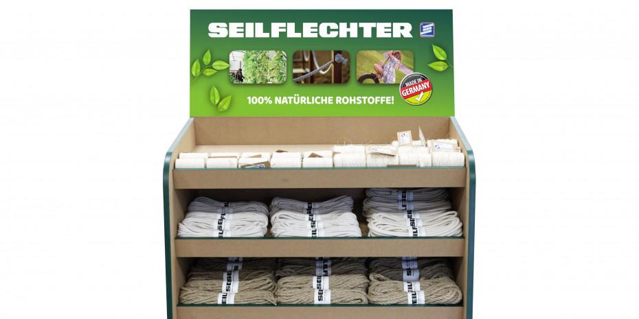 Das Naturseil-Display von Seilflechter hebt die Nachhaltigkeit des Produkts hervor.