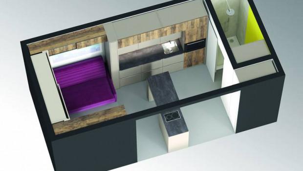 Laut Hettich fehlt es an nichts: Mit dem vorgestellten Konzept sind die 18 m² vom Boden bis zur Decke mit Stauraumlösungen des Unternehmens bestückt. [Foto: Hettich]