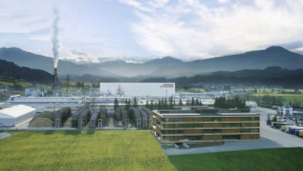 Egger-Werk am Stammsitz in St. Johann in Tirol, Österreich.