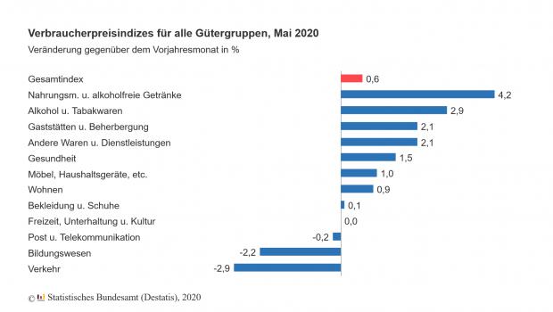 Die Inflationsrate von zwölf Gütergruppen im Mai. Quelle: Destatis