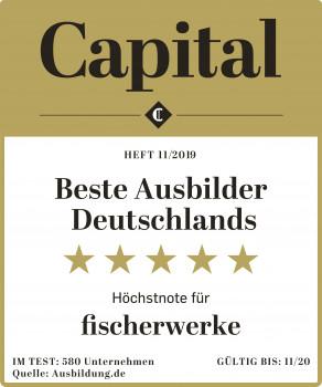 """Das Wirtschaftsmagazin Capital und die Talentplattform Ausbildung.de ermittelten in einer bundesweiten Umfrage """"Beste Ausbilder Deutschlands"""" und kürten Fischer als Gewinner."""