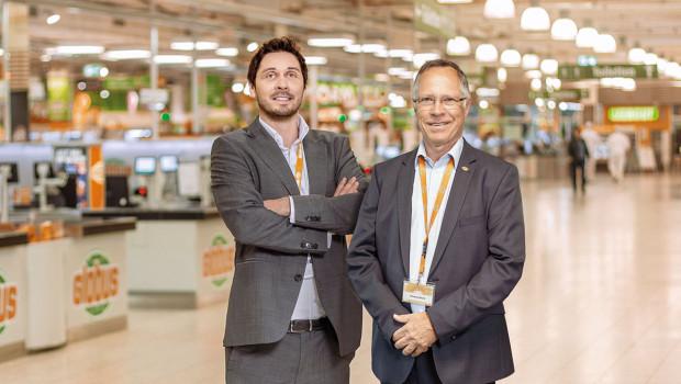 Matthias Bruch, derzeit Geschäftsleiter im Globus Saarbrücken-Güdingen, und sein Vater Thomas Bruch, geschäftsführender Gesellschafter der Globus Holding (v.l.).