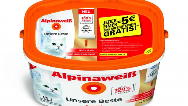 Pro gekauften Alpina-Aktionseimer erhält der Kunde einen Fünf-€-Einkaufsgutschein für den Markt, in dem er das Produkt gekauft hat.